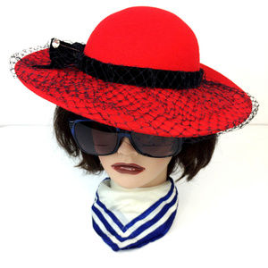 Accessories - Vintage Red Wool with Netting Wide Brim Hat